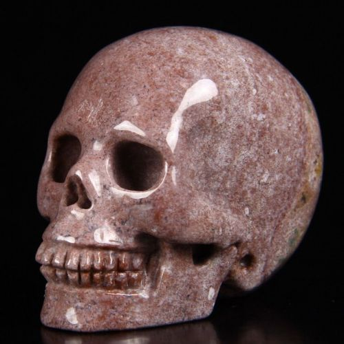 "Fancy Jasper Realistic Carved Gemstone Crystal Skull 2"" Inch SK59"
